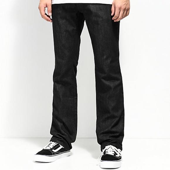 f6005ba612 Free World Black Raw Denim Regular Fit Jeans Mens